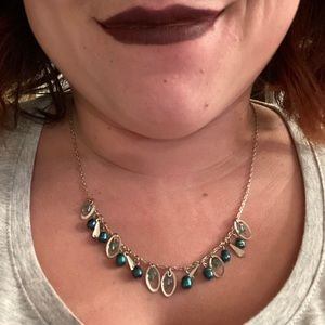 Jewelry - Silver Necklace with Rings & Teal and Blue Beads
